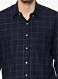 Dewberry Kareli Uzun Kollu Gömlek Lacivert